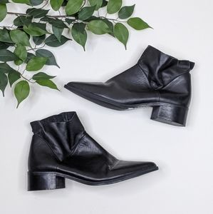 Fabianelli Pointed Toe Leather Block Ankle Booties